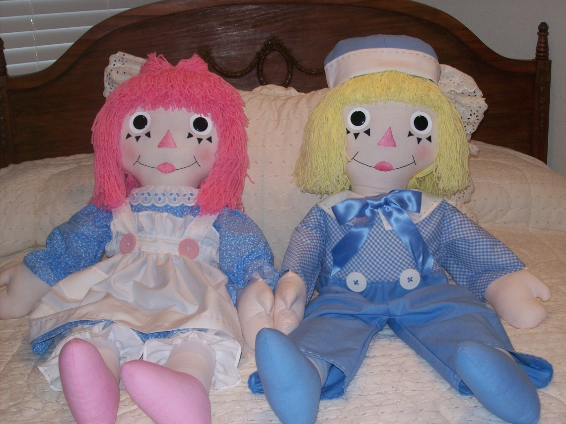 Pastel Raggedy Ann & Andy~TODAY'S RAGGEDIES !!!